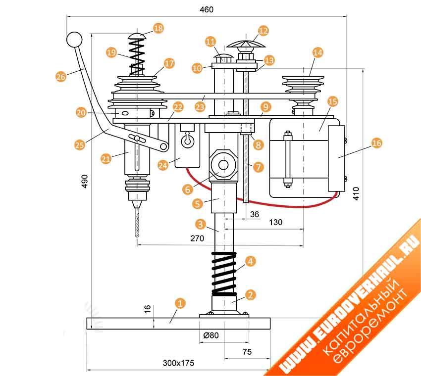 Общий чертеж сверлильного станка на основе двигателя.