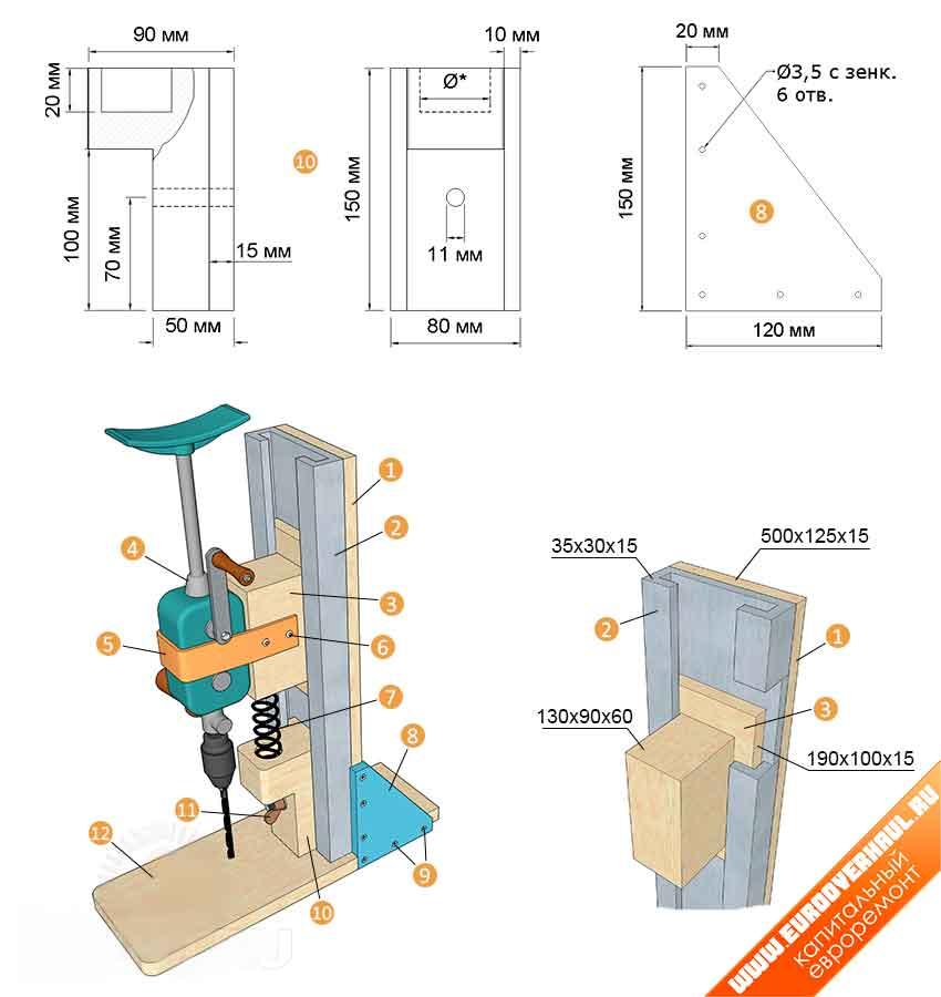 С пружинным механизмом: 1 — стойка; 2 — металлический или деревянный профиль; 3 — ползунок; 4 — ручная дрель; 5 — хомут крепления дрели; 6 — шурупы для крепления хомута; 7 — пружина; 8 — угольник для закрепления стойки 2 шт.; 9 — шурупы; 10 — упор для пружины; 11 — барашковый болт для крепления упора; 12 — основание станка.