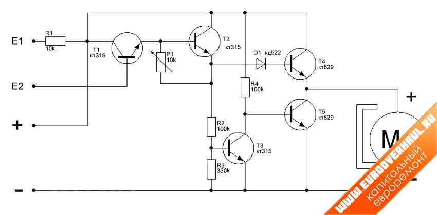 Простая электрическая схема управления электромотором на самодельном сверлильном станке для печати плат.