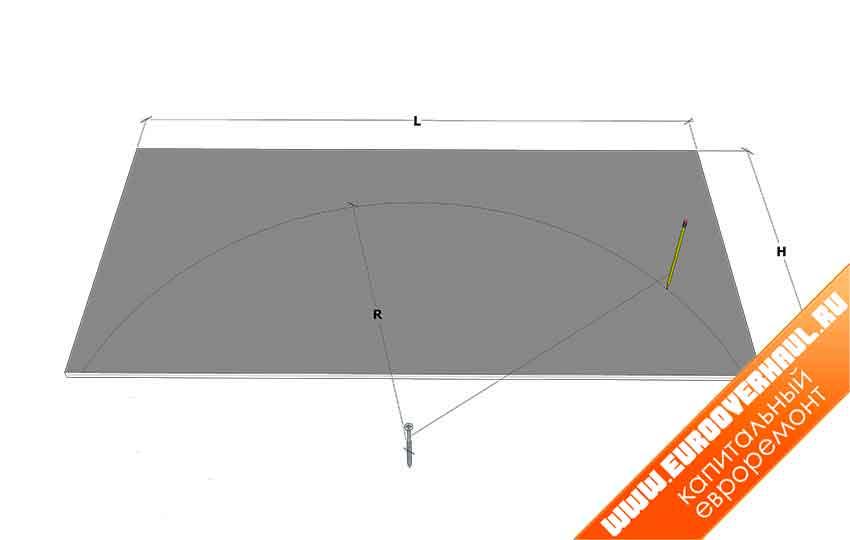 L — ширина проёма, H — высота арки, R — радиус сектора, D — запас материала, равный толщине отделки торцов проёма.