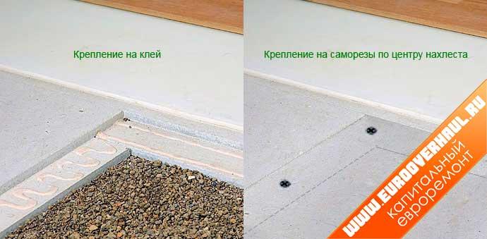 Образцы различных вариантов крепления плит ГВЛ