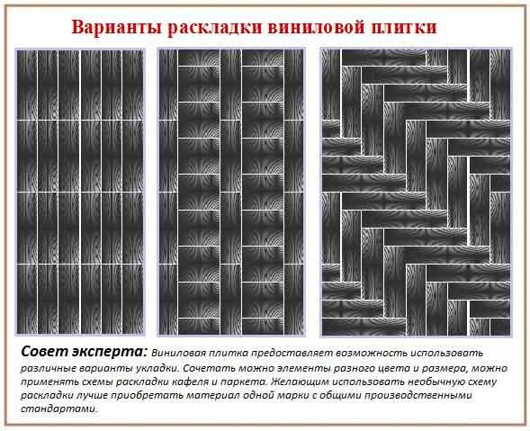 Варианты раскладки виниловой плитки.