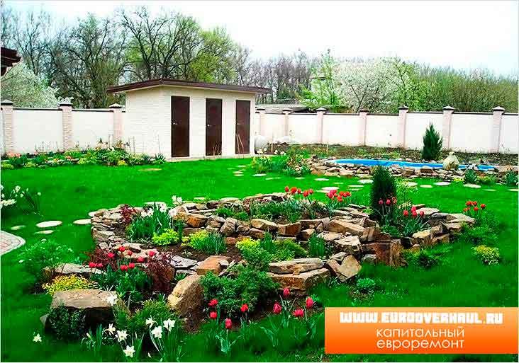 Ландшафтный дизайн частного дома.